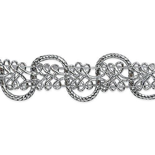 Expo International Gwen Lacey Metallic Braid Trim Embellishment, 20-Yard, Silver