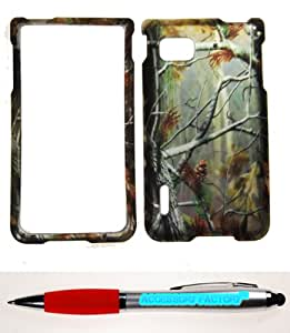 Accessory Factory(TM) Bundle (the item, 2in1 Stylus Point Pen) For LG Optimus F3 LS720 MS659 (Sprint T-Mobile MetroPCS) Mossy Oak Rubberized 2D Design Pine Tree Wood Hunter Camo Case Cover Protector