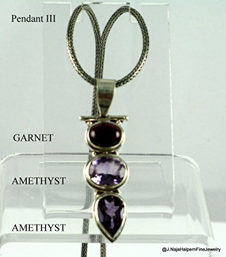 Amethyst Goddess Pendant - Amethysts and Garnet Gemstone Sterling Pendant 2''
