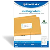 """Printworks White Mailing Labels for Inkjet or Laser Printers or Copiers, 100% Recycled, Label Size 2"""" x 4"""", 10 Labels per Sheet, 120 Labels per Pack, (00673)"""