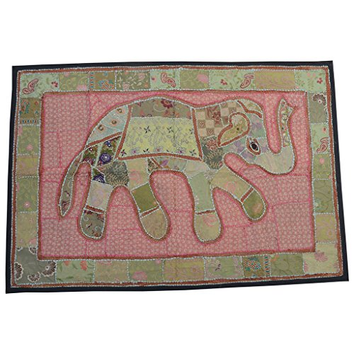 India Patchwork Art (Vintage Decor Embroidered Patchwork Tapestry Fabric Elephant Wall Art Patchwork Ethnic Banjara Bohemian Gypsy Décor Wall Hanging From India)