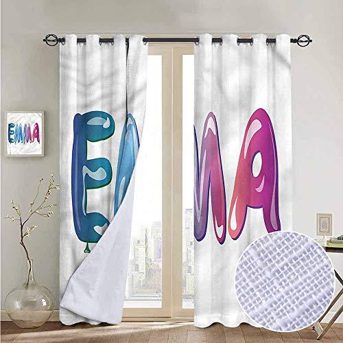 NUOMANAN Print Curtains for Bedroom Curtain Emma,Feminine Balloon Name,Grommet Window Treatment Set for Living Room 84