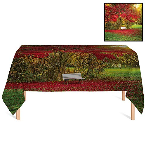 SATVSHOP Outdoor Tablecloth /55x55 Square,Farm House Single Bench in City Park Nobody Between Maple Trees Public Area Town Recreation Image Red Green.for Wedding/Banquet/Restaurant.