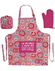 ThisWear Funny Retirement Gift I'm Retired You're Not Have Fun at Work Funny Aprons 3-piece Cooking Apron Set with Oven Mitt and Pot Holder Funny Apron Pink Circle