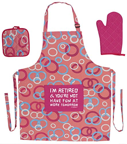 Funny Retirement Gift I'm Retired You're Not Have Fun at Work Funny Aprons 3-piece Cooking Apron Set with Oven Mitt and Pot Holder Funny Apron Pink Circle