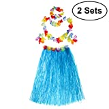 BESTOYARD 2 Sets Hawaiian Luau Hula Grass Skirt Flower Bracelets Headband Necklace Set 80cm for Costume Party, Events, Birthdays, Celebration (Blue Skirt)
