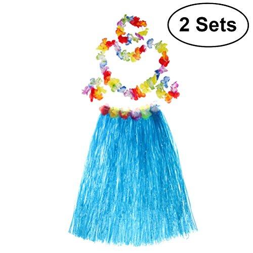 BESTOYARD 2 Sets Hawaiian Luau Hula Grass Skirt Flower Bracelets Headband Necklace Set 80cm for Costume Party, Events, Birthdays, Celebration (Blue Skirt) by BESTOYARD