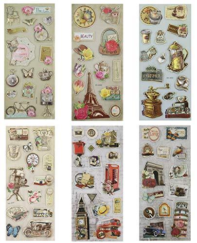 Floranea 81 Pcs 3D Theme Embellishments Die Cut Stickers Vintage for Scrapbooking DIY Card Making Craft Art Decorative