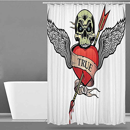 - VIVIDX Polyester Fabric Shower Curtain,Tattoo,Angel Wings with Skull and Heart Full of Blood Symbol of Real Love Image,Fabric Shower Curtain Bathroom,W72x72L Red White and Black