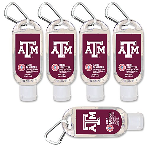$2.00 OFF Texas A&M Aggies Mini Travel Size Hand Sanitizer with Clip, 5-Pack. Moisturizers Aloe Vera and Vitamin E. (1.5 oz Containers) NCAA Gear for Men and Women, Stocking ()