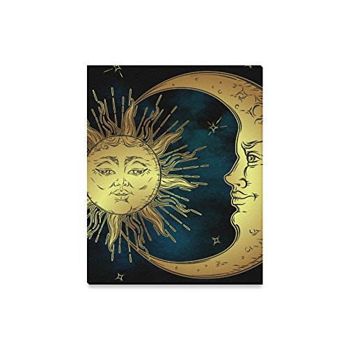 (InterestPrint Antique Boho Decor Golden Sun Moon and Stars over Blue Sky Wall Art Canvas Print Stretched and Framed Abstract Paintings - Wall and Home Decor, 16 x 20 Inches )