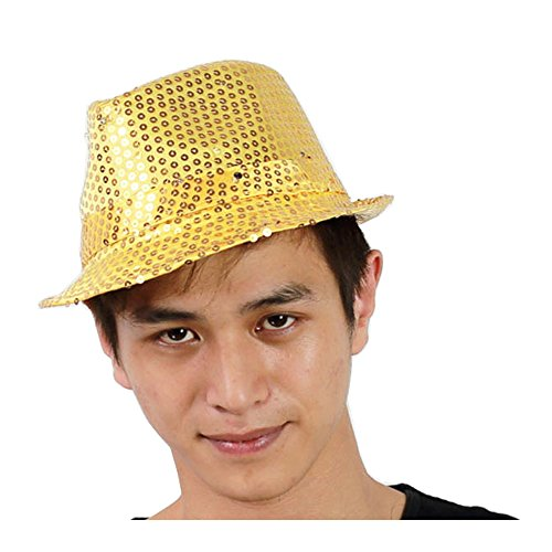 Gobuy Unisex Led Light Up Fedora Cowboy Hats Sequins Costume Party Cap (50s Dress Up Ideas)