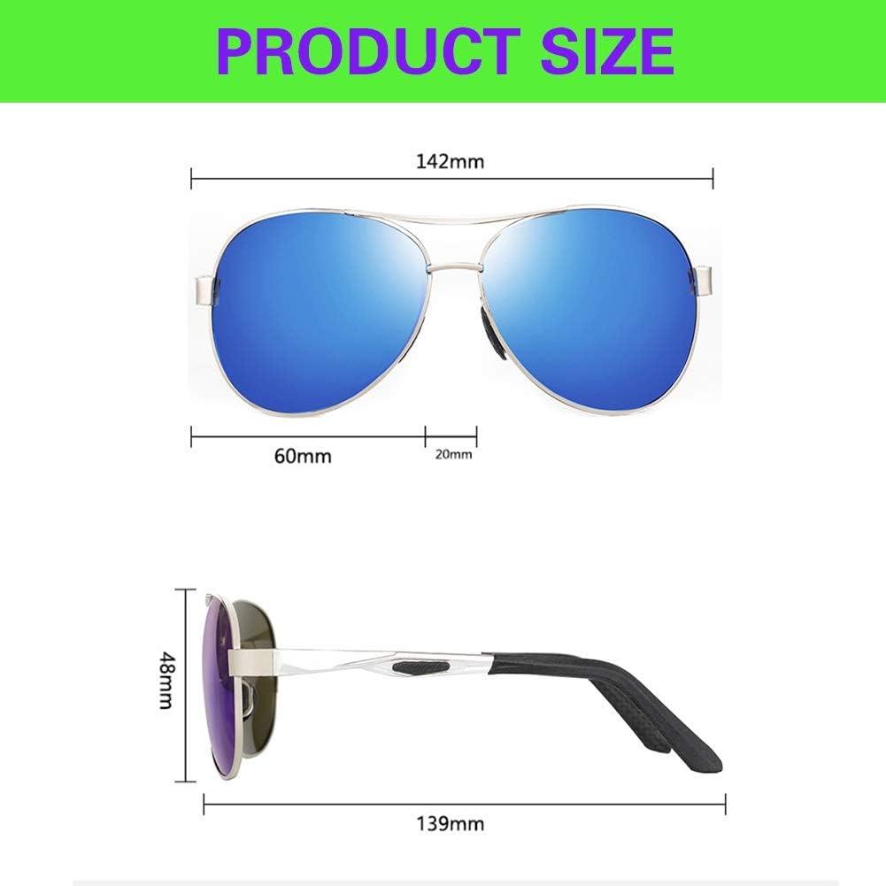 LVYY 3 Paires Polarized Lunettes de Soleil for la Protection UV des Hommes de Style rétro personnalité de la Mode Frame Métal (Color : C5) C1