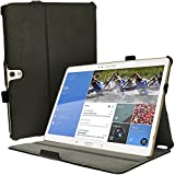 """iGadgitz Premium Executive Black PU Leather Case Cover for Samsung Galaxy Tab S 10.5"""" SM-T800 with Multi-Angle Viewing stand + Auto Sleep/Wake + Hand Strap + Stylus Pen Elastic Holder + Screen Protector"""