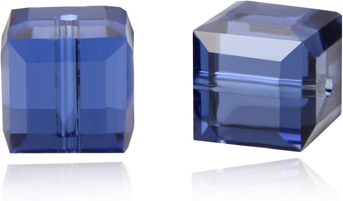 Adabele Austriaco 4 mm (0,16 pulgadas) Cuentas de Cristal Pequeño Cube, Índigo Oscuro Compatible con Cristales Swarovski Preciosa 5601 SSC420