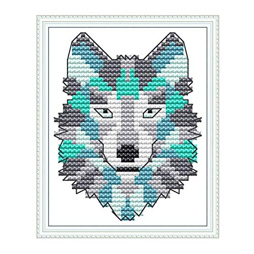Cross Stitch Embroidery Kits for Adults Kids, WOWDECOR Abstract Animals Wolf 11CT Stamped DIY DMC Needlework Easy Beginners (Wolf)