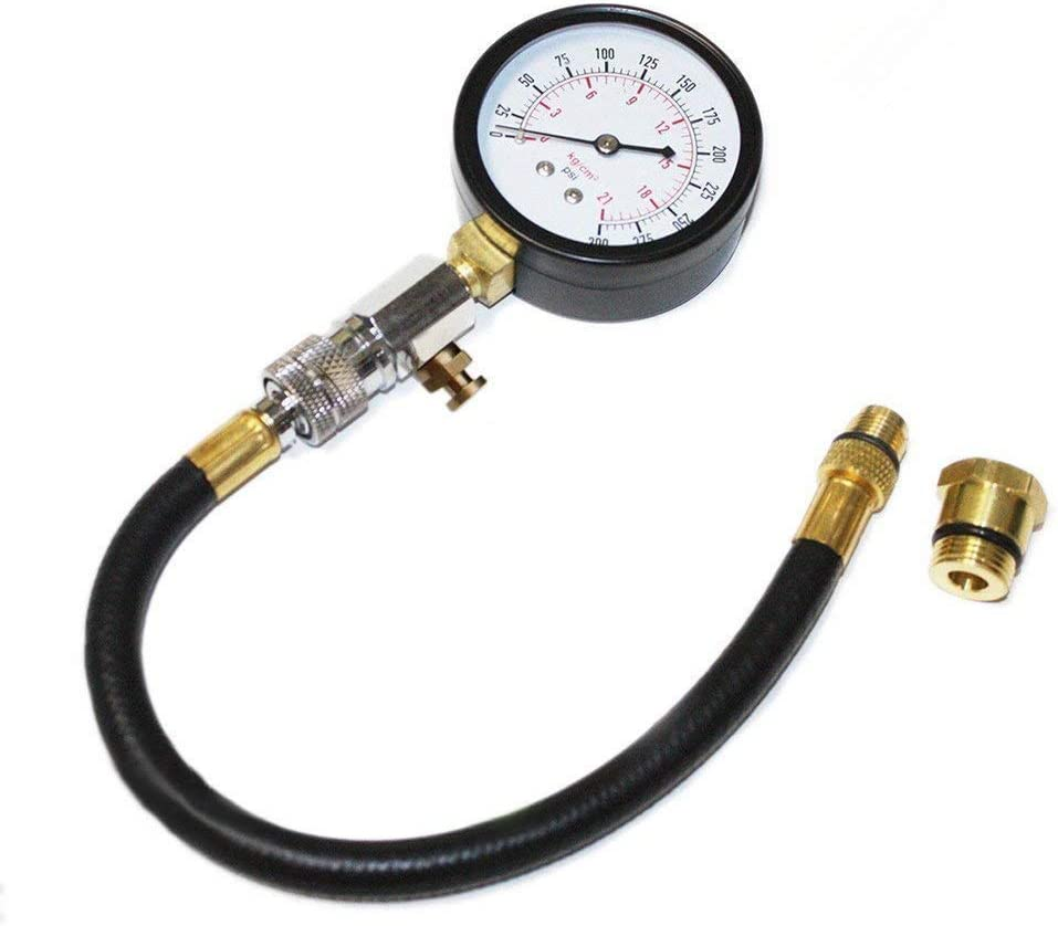 Bang4buck  Cylinder Fuel Pressure Tester 2-3//4 inch Dial Face with 11 Inch Hose 14mm//18mm Adapter Outlet for Cars ATVs Motocycles BB-10906007