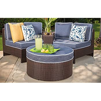 Riviera Positano Outdoor Patio Furniture Wicker 4 Piece Semicircular  Sectional Sofa Seating Set W/ Waterproof
