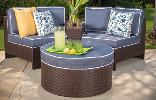 Riviera Positano Outdoor Patio Furniture Wicker 4 Piece Semicircular Sectional Sofa Seating Set w Waterproof Cushions Standard Ottoman, Navy Blue