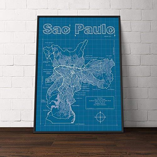 Sao Paulo, Brazil Map - Blueprint Style