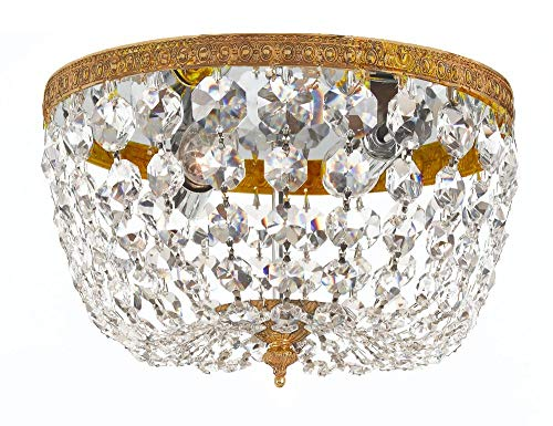 Crystorama 2 Light Clear Italian Crystal Olde Brass Ceiling Mount