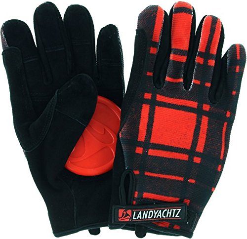 Landyachtz Plaid Slide Gloves L-Red/Black