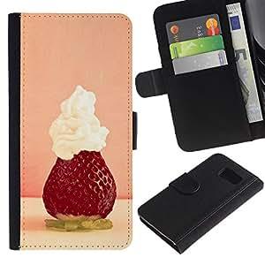 LASTONE PHONE CASE / Lujo Billetera de Cuero Caso del tirón Titular de la tarjeta Flip Carcasa Funda para Samsung Galaxy S6 SM-G920 / Fruit Macro Strawberry Whipped