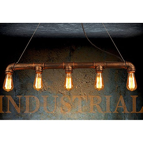 WINSOON INDUSTRIAL STEAMPUNK LAMP IRON PIPE CEILING ISLAND FIXTURE PENDANT LIGHT VINTAGE Retro (Bronze)