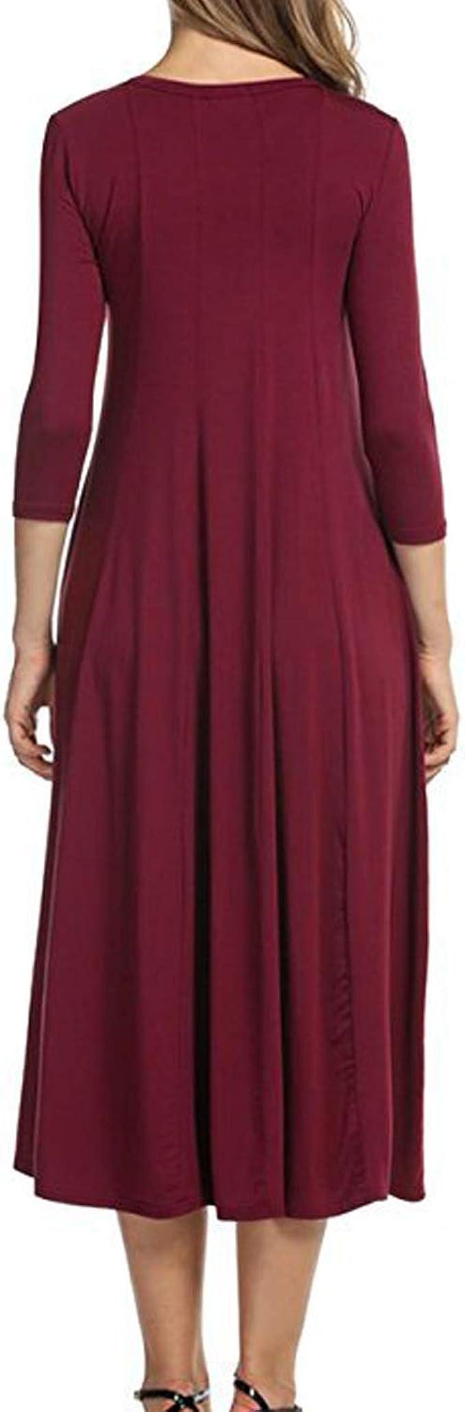 Abravo Vestiti Donna Casual Tunica Camicia Vestido Manica Lunga Abiti Primavera Estivi Linea A Taglie Forti Abiti da Notte