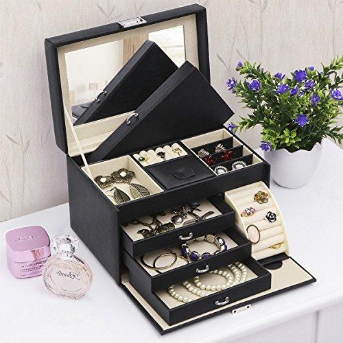 BEWISHOME Jewelry Box Organizer Case Display Storage W/Travel Case Large Mirrored 10 1/4'' x 7 1/16'' x 6 11/16'' Black PU Leather for Girls Women SSH53B by BEWISHOME (Image #7)