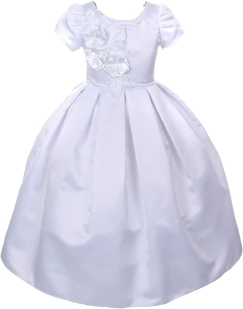 AkiDress Round Neck Cap Sleeve Pleated Satin Communion Dress