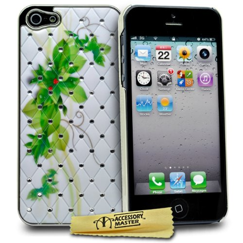 Accessory Master Blumen Design Diamond Hardcover für Apple iPhone 5 grün
