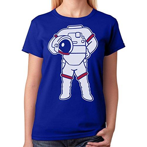 [TeeStars - Astronaut Easy Costume - Space Suit Print Funny Women T-Shirt Medium Blue] (Headless Woman Halloween Costume)