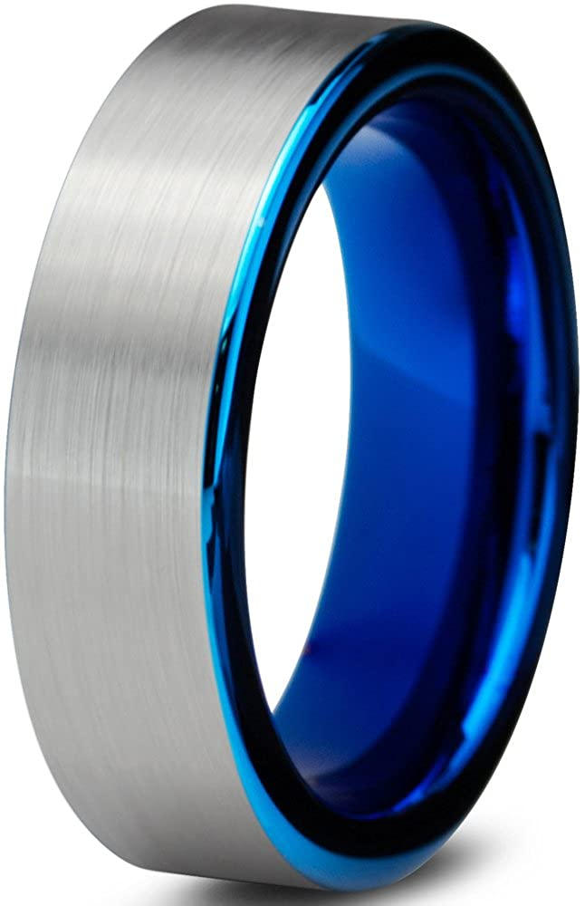 Tungsten Wedding Band Ring 6mm for Men Women Comfort Fit Blue Pipe Cut Brushed Charming Jewelers CJCDN-520-B