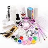 Full Kit Nail Art Primer Form Tips Color Acrylic Powder Glitter Liquid Tools Set