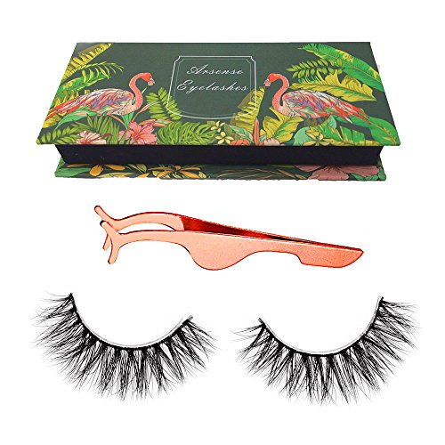 3D Mink Lashes Hand-made Dramatic Makeup Strip Lashes 100% Siberian Fur Fake Eyelashes Thick Crisscross Deluxe False Lashes Black Nature Fluffy Long Soft 1 Pair Package + Useful ()