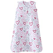 Halo 100% Cotton Sleepsack Wearable Blanket, Modern Pink Hearts, Small