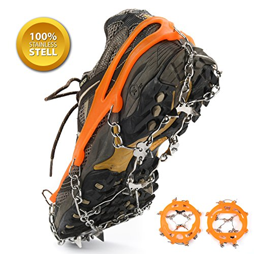 Weanas Multi-Function Anti-Slip Ice Cleat Shoe Boot Tread Grips Traction Crampon Chain Spike 1 Pair (8-Crampon)