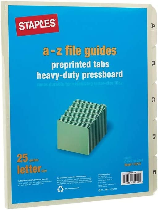 95PX2125-S MyOfficeInnovations Filing Guide A-Z Index Letter Size Green 25//Set