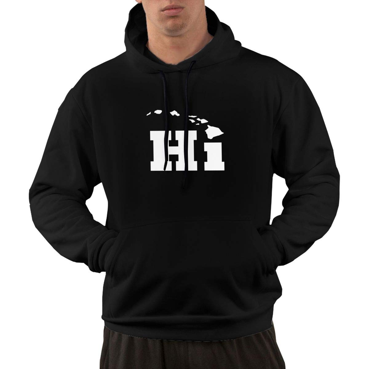 Hi with Hawaii Island Logo Hoodie Mens Fashion Long Sleeve Sweatshirts Hoodie Shirt with Front Pocket