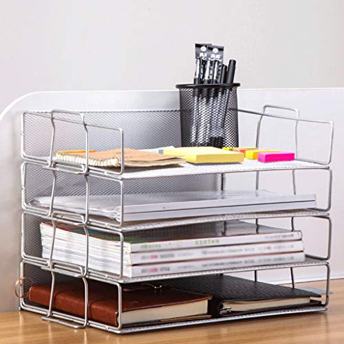 Whl Iron Net File Holder Double Handle File Tray Wrought Iron File Box 36.5X24.5X7.5CM (Color : - Whl Handle