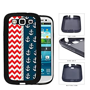 Red & White Chevron Pattern with Navy Anchor Pattern & Rope In Center Samsung Galaxy S3 I9300 Rubber Silicone TPU Cell Phone Case