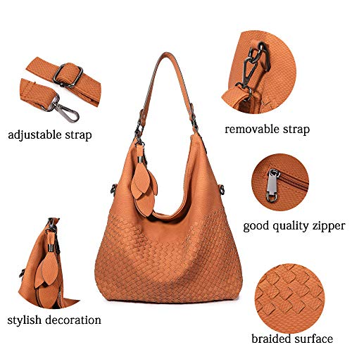 Shoulder Leather Crossbody Brown Bag Braided Tote Handbags Camel Women's Classical New Light Bag Purses Hobo 1qwIPnBx08