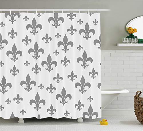 Ambesonne Fleur De Lis Shower Curtain, Lily Pattern Classic Retro Royal Vintage European Iris Ornamental Artwork, Cloth Fabric Bathroom Decor Set with Hooks, 75