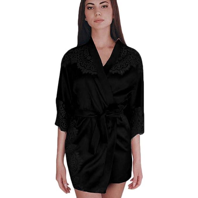 Ropa de Dormir para Mujer, Mujeres Sexy Kimono de Seda Bata Traje de Baño Traje de Encaje Empalme Lencería Nightdress Ropa Interior Tentación: Amazon.es: ...