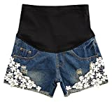 Hibukk Mid Blue Denim Ripped White Floral Lace Full Panel Maternity Shorts, Blue 2,Manufacturer(M)