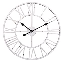 Utopia Alley Roman Round Clock, Distressed Finish, Metal, White
