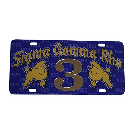 Sigma Gamma Rho Line  3 Numbered Car Tag Line Number Acrylic Printed Decorative Tag For Front Back Of Car