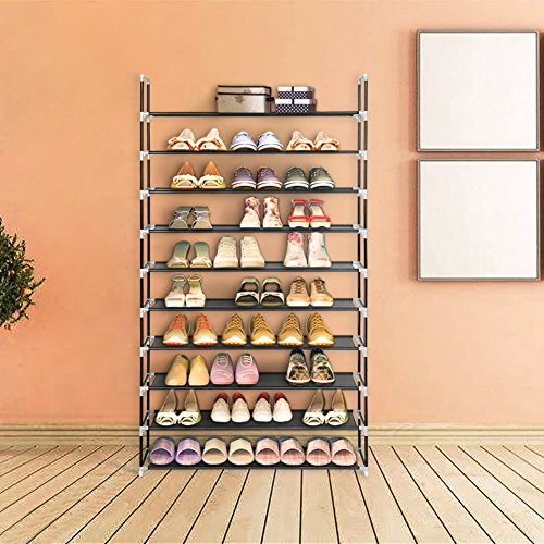 Blissun 10 Tiers Shoe Rack 50 Pairs Non-woven Fabric Shoe Storage Organizer Cabinet Tower, Black, - Tower Hours Water The Place