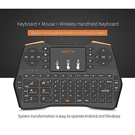 Wewoo VIBOTON I8 Plus Mis Actualización 2.4 GHz Qwert Mini Teclado inalámbrico con Touchpad para TV Box Mi Ordenador Tablet Portátil y proyector Negro: ...